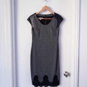 Maggy London Black Faux Leather Accent Dress Sz 4